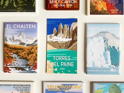 Torres Del Paine Illustration and Magnet national parks landscape illustraion patagonia chile national park magnet