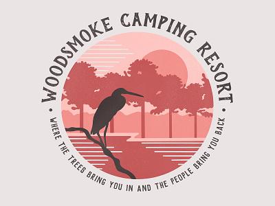 Vintage Camping T-Shirt Illustrations wood birds sunsets river lake camp textile shirt sunset mangroves bird rv florida national park procreateapp procreate illustration illustrator tshirt camping