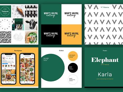 WVE Brand Board illustrator letter v pattern styleguide instagram style cooking eating food yellow green idenity branding brand