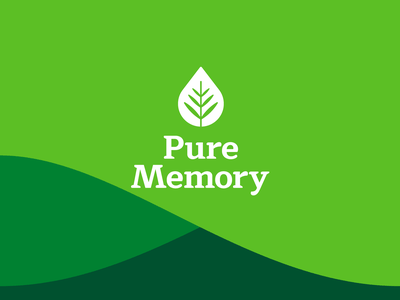 Pure Memory • Logo packaging wordmark typogaphy leaf mark logo branding design