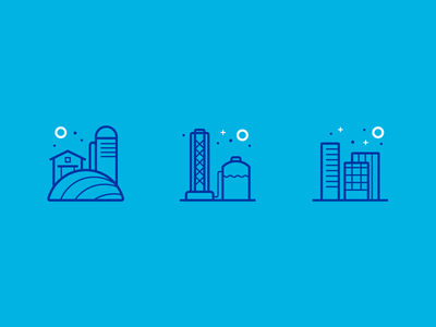 WIP Service Icons city blue farm well service water illustration icons branding design