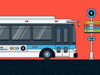 NYC Travel Illustration   Bus