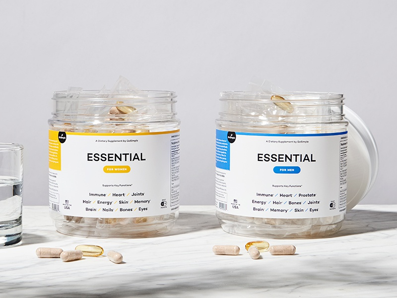 GoSimple Brand Launch vitamins product packaging icons leaf mark naming website logo co-motion branding design