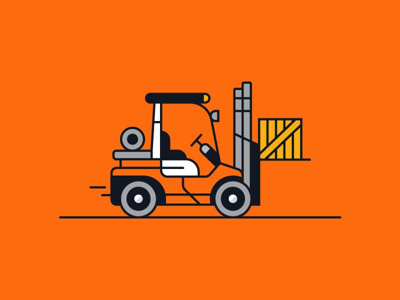 Toyota Forklift orange identity video animation icon illustration branding design