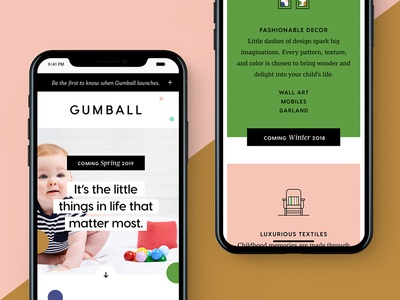 Gumball Landing Page kids packaging dribbble identity gumball website ux ui branding design