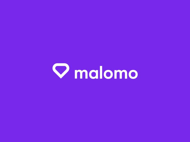 Malomo Logo website logo mark heart tracker shipping product app identity branding design