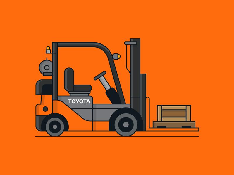 Toyota Vehicle 1/6 transporation forklift vehicle toyota vector icon illustration branding design