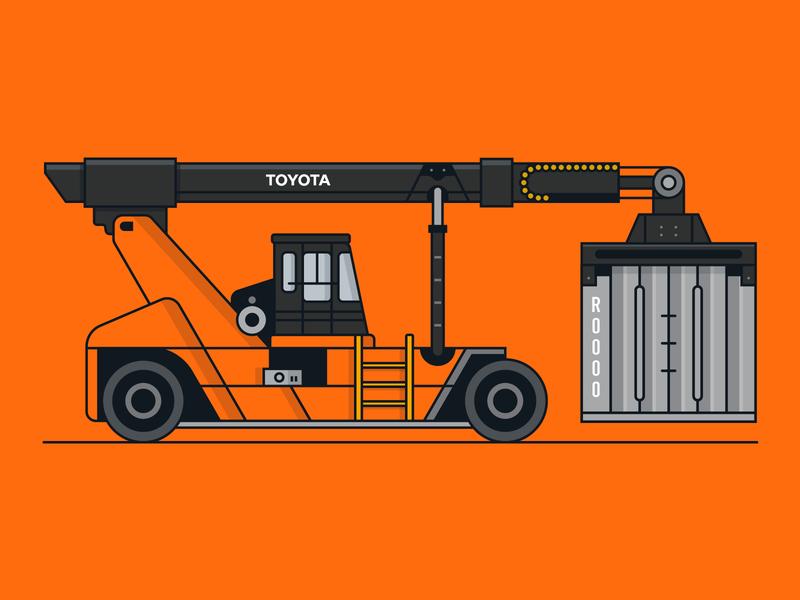 Toyota Vehicle 2/6 forklift transporation branding vehicle toyota icon vector illustration design