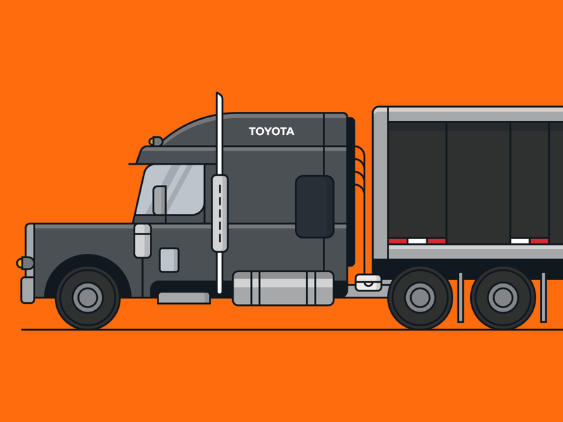 Toyota Vehicle 4/6 co-motion vehicle semi-truck truck vector icon set illustration branding design