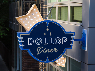 Dollop Diner - Custom Marquee Sign signs way right chicago design retro marquee sign
