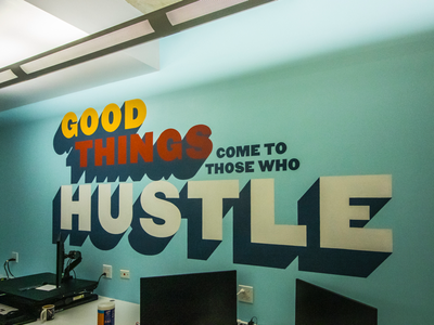 Sign painting typography mural by Right Way Signs of Chicago. sign design office mural office chicago hand lettered hand lettering hand painted typography mural sign signs