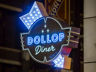 Custom sign fabricated and installed for Dollop Coffee chicago vintage sign marquee sign exterior sign coffee led neon sign signage