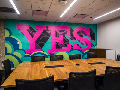 Mural - Design, print and install by Right Way Signs of Chicago wall wrap digital print office conference room typography design murals mural vinyl sign signs
