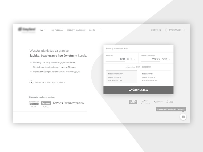Money transfer — Wireframe front page — Above the fold