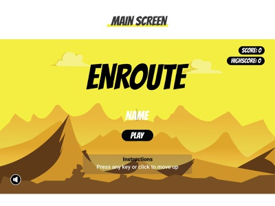 Enroute game - Main Screen logo ui typography illustration comics 2d design game graphic