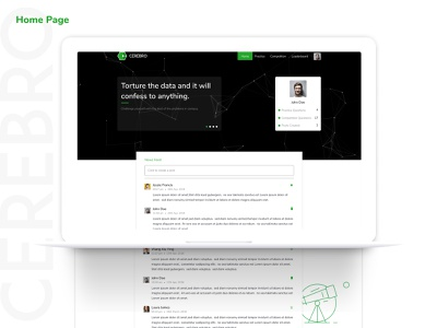 Cerebro - Home Page desktop design typography green graphic user inteface user experience user center design homepage sdslabs illustrator cerebro ux design branding design ui ux design product design figma web design ui ux