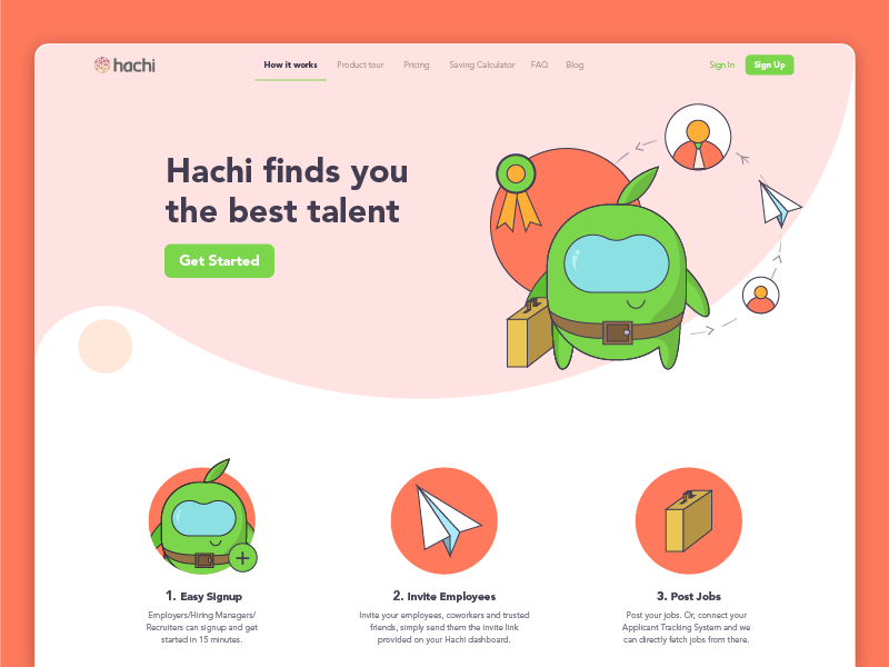 """Hachi """"How it works"""" Page Redesign howitworks connect illustration uiux signup jobs talent creature hachi"""