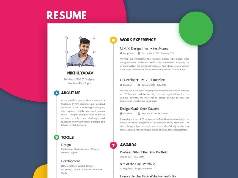 Resume | CV nikhil yadav portfolio clean illustrator cv resume