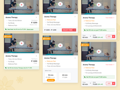 Variant UI Card Iterations | UrbanClap Internship Project price variant card ecommerce design app ux ui