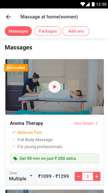 Massage selected