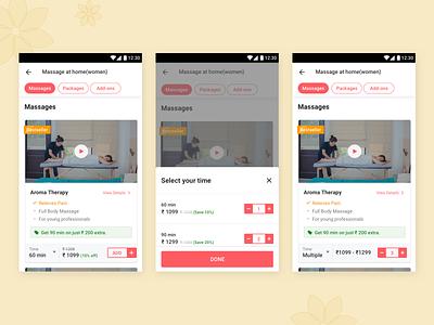Variant Flow urbanclap android variant card ecommerce app design ux ui