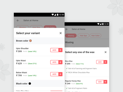 Variant Other Screens app urbanclap variant card ecommerce design ux ui