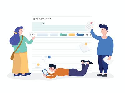 Team collaboration- Illustration files chat message legal management team collaboration ui illustration design