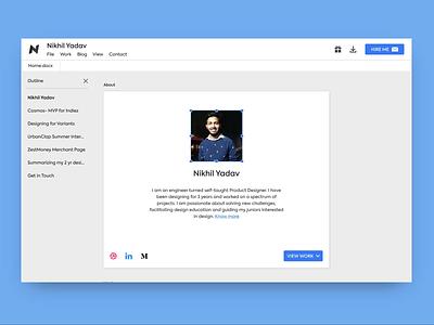 Google Docs themed portfolio document google docs google portfolio clean design ux ui