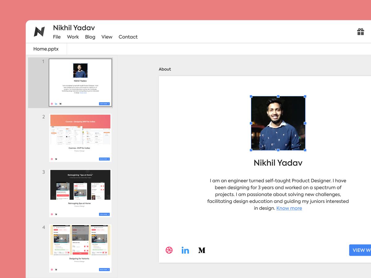 google slides based portfolio by nikhil yadav dribbble dribbble