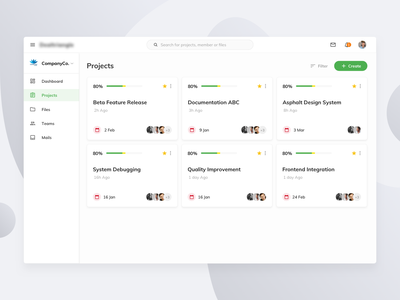 Projects Dashboard UI card concept clean design ux ui