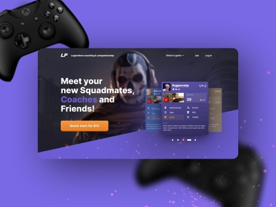 LF PWP gamerguy gamer gaming gaming website black purple dark mode landingpage game design landing design dark dark theme dark ui landing page design landing page ui landing page landing