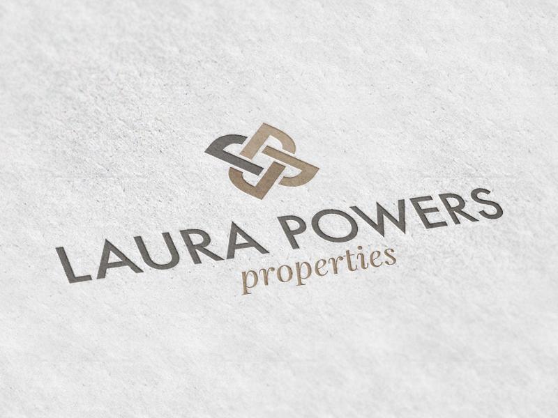 Laura Powers Properties brown tan design logo