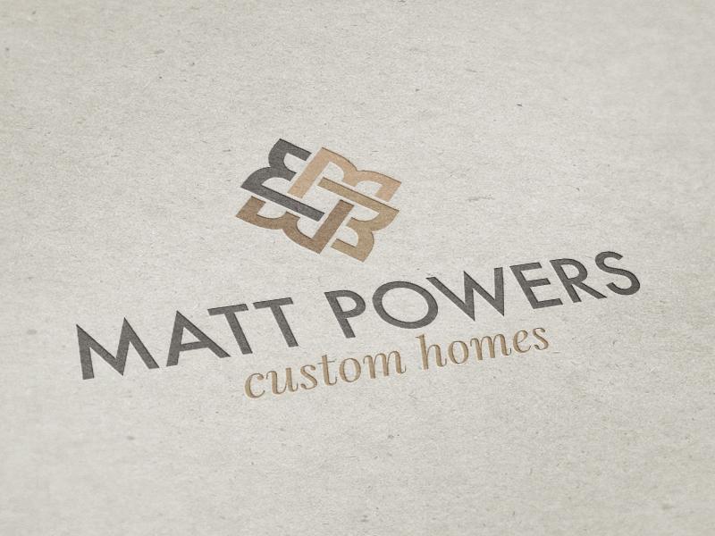 Matt Powers Custom Homes brown tan design logo