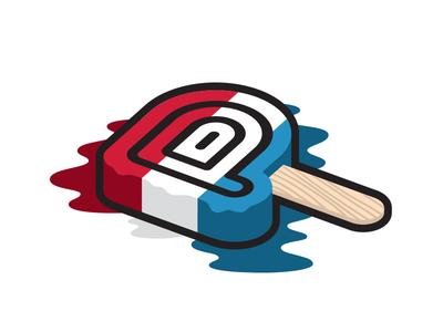 Push Pop illustration design logo red white and blue july 4th bomb pop push