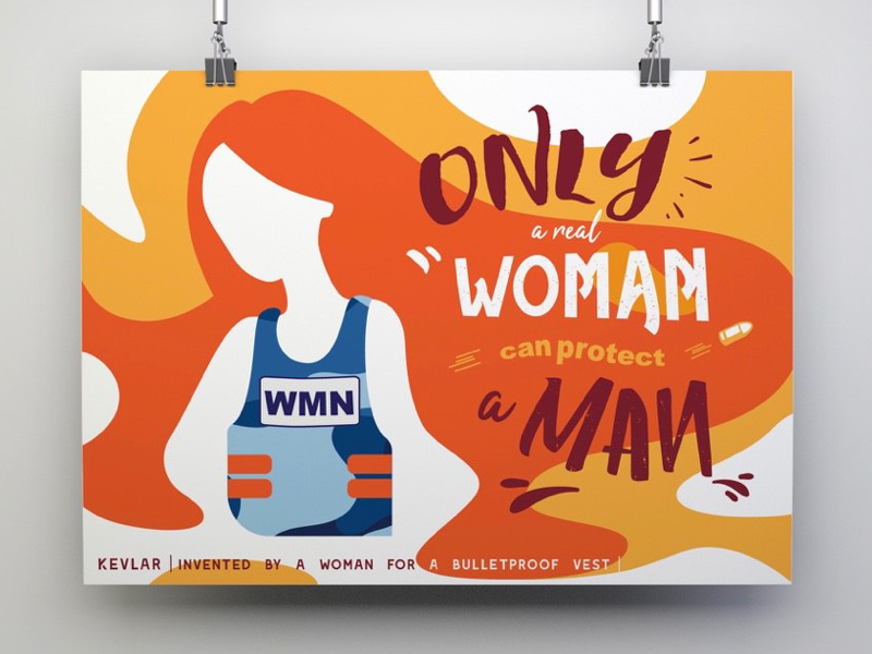 Only a real woman can protect a man competition spring gender bulletproof vest vector poster design postcard international womens day woman poster