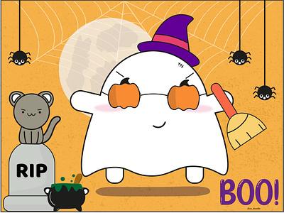 Boo character adorable doodleart design cute inktober spider dribbbleweeklywarmup challenge pumpkin cat ghost haunted spooky halloween kawaii illustration doodle
