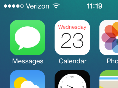 iOS 7 Home Screen Re-Redesign redesign revisited icons iphone ios 7 home screen