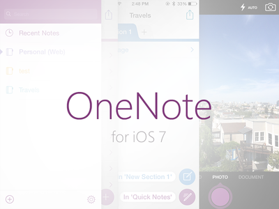 OneNote for iPhone ios7 onenote iphone redesign