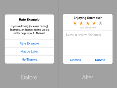 iOS Review Prompt Redesign ios app store review rating prompt dialog redesign