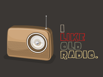 I Like Old Radio. old radio vintage vector illustration fink gothic