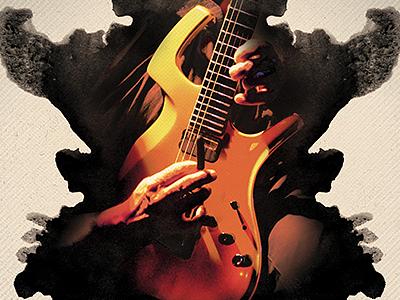 Inkblot Flyer & Poster guitar paint rorschach vintage psd template photoshop watercolor ink inkblot