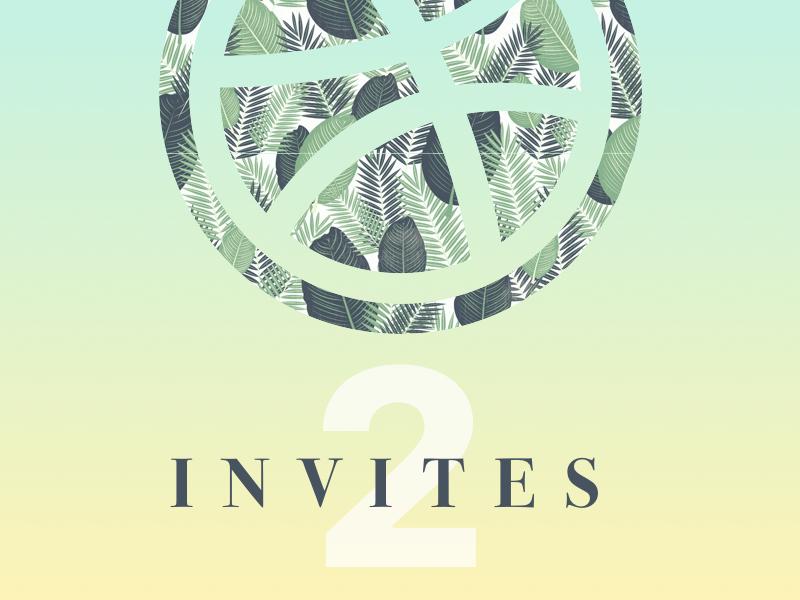 Two Dribbble Invites draft welcome floral minimal invites invite dribbble
