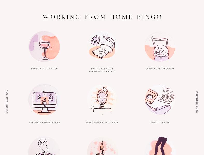 Working from home bingo design illustration icondesign iconset quarantinelife quarantine working space wfh bingo hand drawn icons