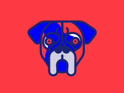 Goliath cilabstudio montreal blue red boxer goliath illustration face dog