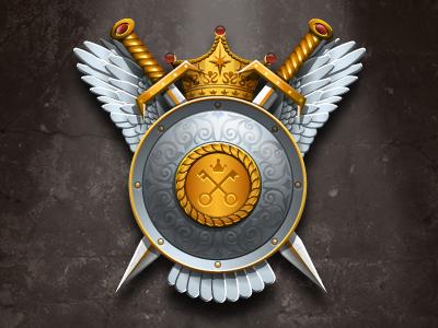 War Of Empires game preloader logo preloader progress bar illustrator photoshop swords crown shield wings heraldry