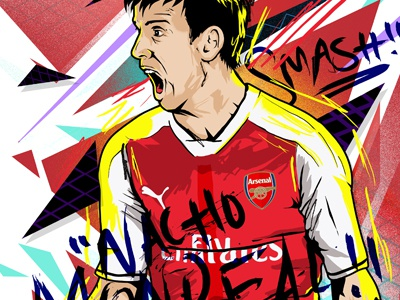 Nacho Monreal vector illustration soccer