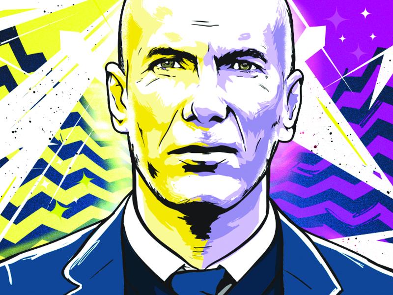 Zidane vector illustration soccer football