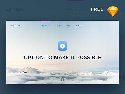 Single page product website design popular download simple website hero webpage ux ui sketch free freebie