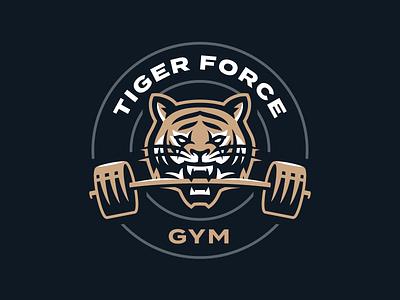Tiger Force GYM mascot logo mascot sport sports logo design logo illustration face animal barbell tiger logo tiger force gym logo