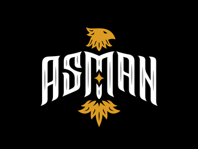 Asman tobacco hookah lettering bird logo eagle